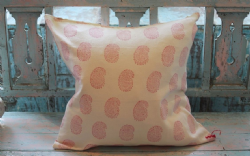 Hand Block Print Linen Cushion with Pink Buti